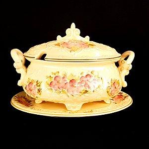 Sopeira de Porcelana com Presentoir Anos 50/60 Pintada a Mão