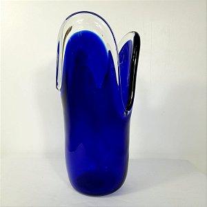 Vaso Azul Cobalto em Cristal Importado