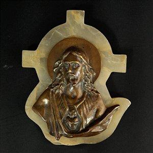 Sagrado Coração Jesus em Bronze e Ônix Branco