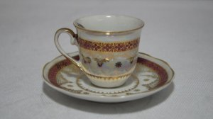 Xícara Chá Café Com Pires Porcelana Steatita Branca E Bordo