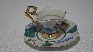 Mini Xícara Chá Café Com Pires Porcelana Japonesa Chinesa