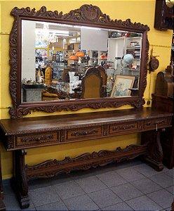 Antigo Aparador Com Espelho Estilo Colonial Com 4 Gavetas