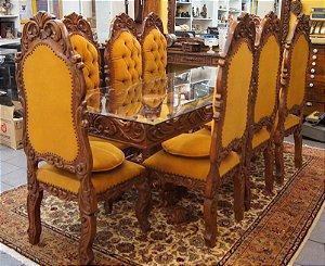 Conjunto Sala de Jantar Mesa 8 Cadeiras Colonial Cerejeira