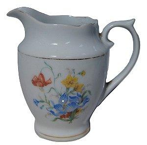 antigo leiteira de porcelana real flores amarelas e vermelha