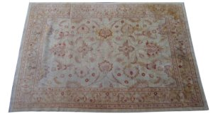 Antigo tapete indiano artesanal estampa de flor 3,75 x 2,83