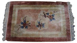 Tapete de seda para lateral de cama rosa bege 0,92x0,61cm