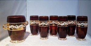 antigo conjunto de 6 copos long drink cristal com geleira