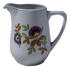 antiga leiteira de porcelana steatita flores roxa