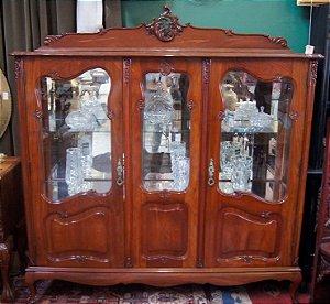 Antiga cristaleira chipandelle com 2 portas madeira de imbua