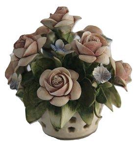 Escultura Estatua de Porcelana capitomonte vaso de flor