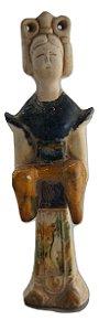 Escultura estátua de porcelana gueixa japonesa