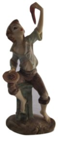 Escultura Estátua De Resina Menino Comendo Carne