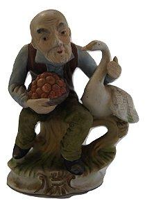 Escultura Estátua De Porcelana Homem Pato
