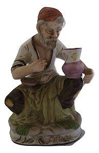 Escultura Estátua Bibelô De Enfeite Pintor De Vaso