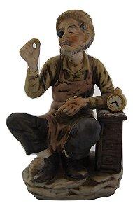 Escultura Estátua Bibelô De Enfeite Relojoeiro Japonesa