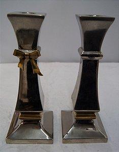 Par Castiçal De Aço Banhado A Prata 90 1 Vela