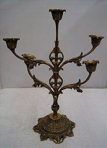 Castiçal De Bronze Maciço 5 Braços