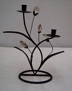 Mini Candelabro De Ferro Em Formato De Flor Antigo