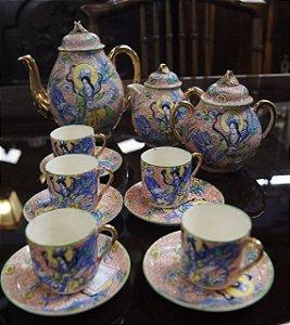 Jogo japonês para chá e café de porcelana 13 peças