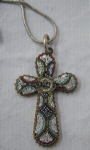 Crucifixo De Pescoço Romano De Prata E Vidro Italiano