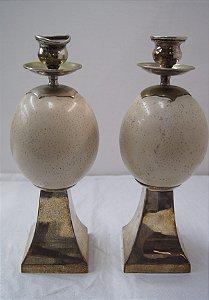 Par De Castiçal Antigo Em Resina E Bronze