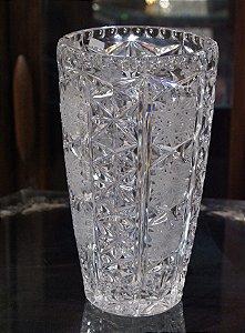 antigo centro de mesa vaso em cristal tcheco