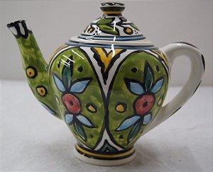 Antigo Bule para chá de porcelana palestino pintado a mão