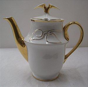 Antigo Bule para chá de porcelana germer folhas