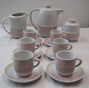 Jogo Café Chá Com 6 Xícaras Em Porcelana Pozzani