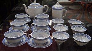 Jogo De Cafe Chá Em Porcelana Grão De Arroz Chinesa