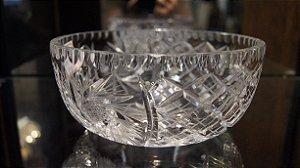 antigo Vaso redondo Cristal Tcheco 20 Cm Lapidado A Mão