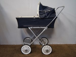 Carrinho De Bebê Hércules Em Metal Azul - Antigo