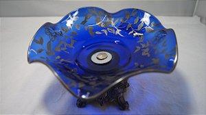 fruteira de mesa centro de mesa em cristal italiano azul