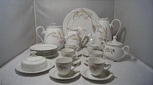 jogo de cafe chá em porcelana steatita branco