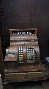 Antiga Máquina Caixa Registradora National Base De Madeira