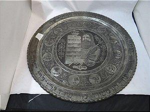 Antigo Prato Decorativo Israel 10 Mandamentos Livro Alcorão