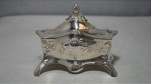 Magnifico Antigo Porta-jóias Em Prata 28k De 1890