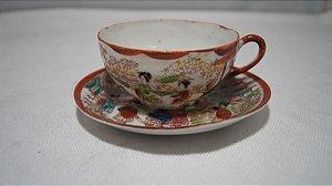Xícara Chá Café Com Pires Porcelana Chinesa Pintado A Mão