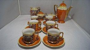 Antigo Jogo De Café Chá Porcelana Cena Galante Laranja