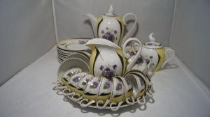 Antigo Jogo De Café Chá Porcelana Schimidt Rosas Roxa 33pç