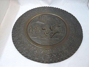 Antigo Prato Para Decoração De Bronze Europeu Auto Relevo