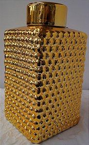 Pote de Decoração de Cerâmica Dourado 35cm