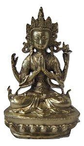 Escultura Estátua de bronze deus hindu Vishnu 20 Cm