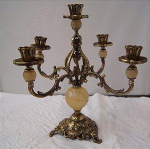 Castiçal Candelabro Bronze e Alabastro Espanhol