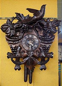 Cuco Relógio De Parede Pássaro Pendurado Madeira