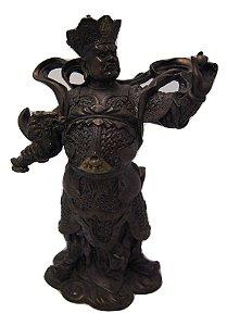 Escultura Estatua de bronze imperador chines com dragão
