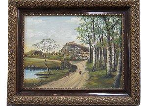 Quadro Tela Pintura a Óleo Estrada Por H. F. Fibinger