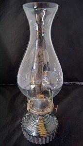 Antiga Lampião Lamparina de cristal a óleo azul Déc de 50