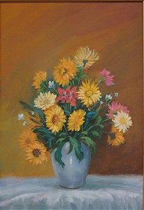 Quadro Tela Pintura a Óleo Floreira Década de 90
