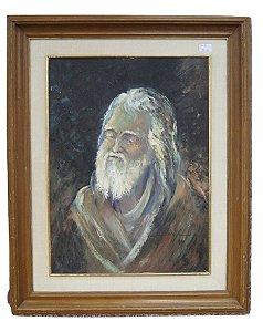Quadro Tela Pintura Óleo Velho com Barba Por Dyniz Domingos